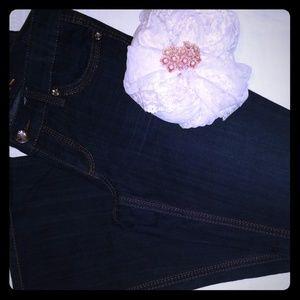 Jeans Seven7 Size 8 Dark Wash Flare Wide Leg Blue